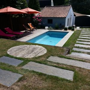 Aménagement de jardin en palier avec piscine