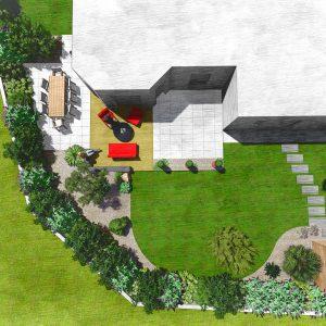 Jardins du Moulin - Aménagement arrière de maison 2D