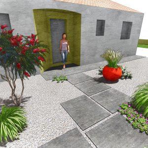 Jardins du Moulin - Aménagement entrée de maison 3D