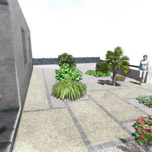 Jardins du Moulin - Aménagement entrée de maison avec béton désactivé 3D