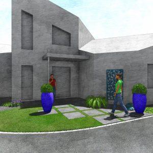 Jardins du Moulin - Aménagement entrée enrobé et dalle 3D