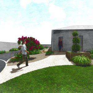 Jardins du Moulin - Aménagement entrée pavage 3D