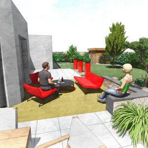 Jardins du Moulin - Aménagement jardin avec terrasse massif 3D