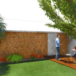Jardins du Moulin - Aménagement jardin terrasse et mur en bois 3D