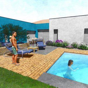 Jardins du Moulin - Aménagement piscine et terrasse 3D
