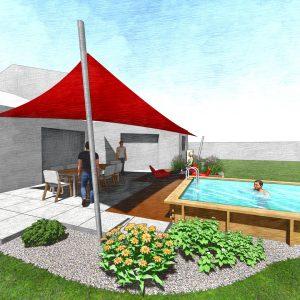 Jardins du Moulin - Aménagement piscine et terrasse avec voile d'ombrage 3D