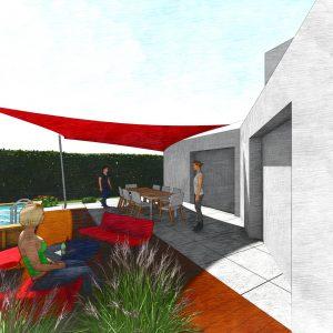 Jardins du Moulin - Aménagement piscine et terrasse avec voile d'ombrage vision 2 3D