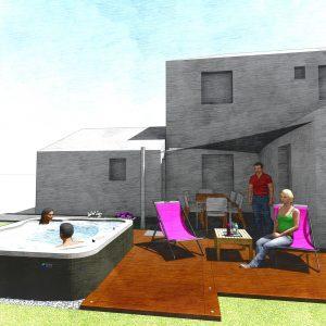 Jardins du Moulin - Aménagement spa et terrasse 3D