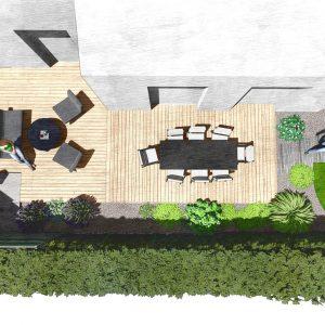 Jardins du Moulin - Aménagement terrasse en bois 3D