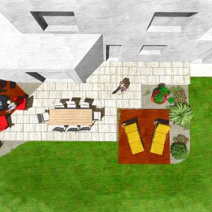 Jardins du Moulin - Terrasse bois et pierre 3D