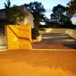 Jardins du moulin paysagiste - Eclairage avec spot encastré dans murêt 2